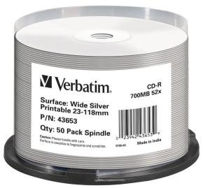 Verbatim Cd-r Wide Silver Inkjet Printable 700mb 52x.