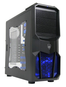 CIT Neptune Gaming Case 12CM Blue LED Fan Side Window Blue Screwless Bays