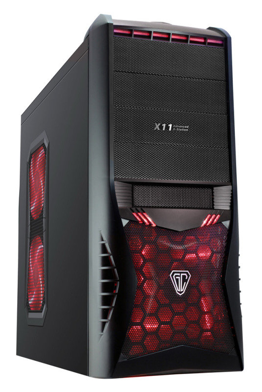 CIT Vantage Type-R Midi Mesh Gaming Case Black Interior 4 Fans (3 Red LED) Card Reader No PSU
