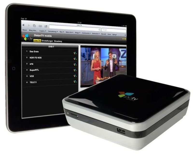 Image of PCTV Broadway 2T streams live TV to your iPhone iPad iPod Touch Mac book or PC Laptop over the internet