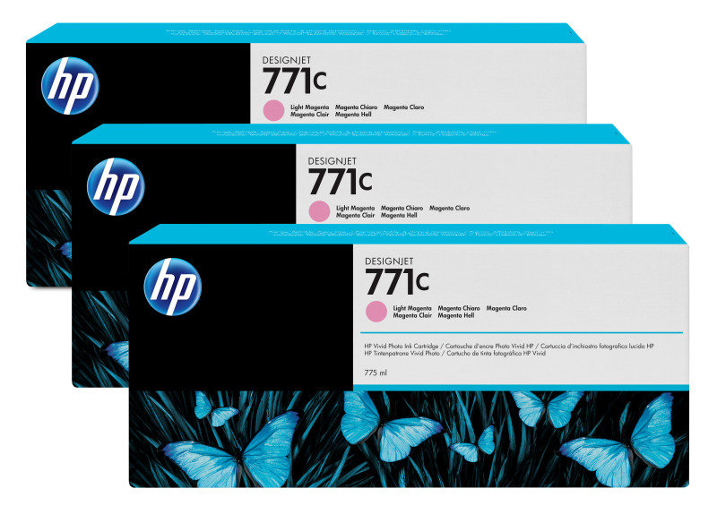 HP 771 Light Magenta Original, Multi-packInk Cartridge - Standard Yield 3 x 775ml - B6Y35A