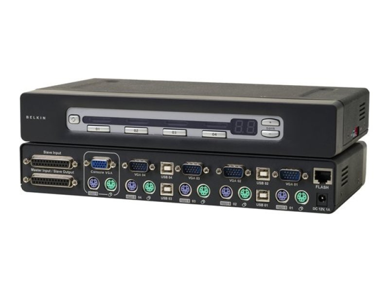Belkin F1DA104ZEA - OmniView PRO3 USB &PS/2 - 4-Port KVM Switch - Stackable