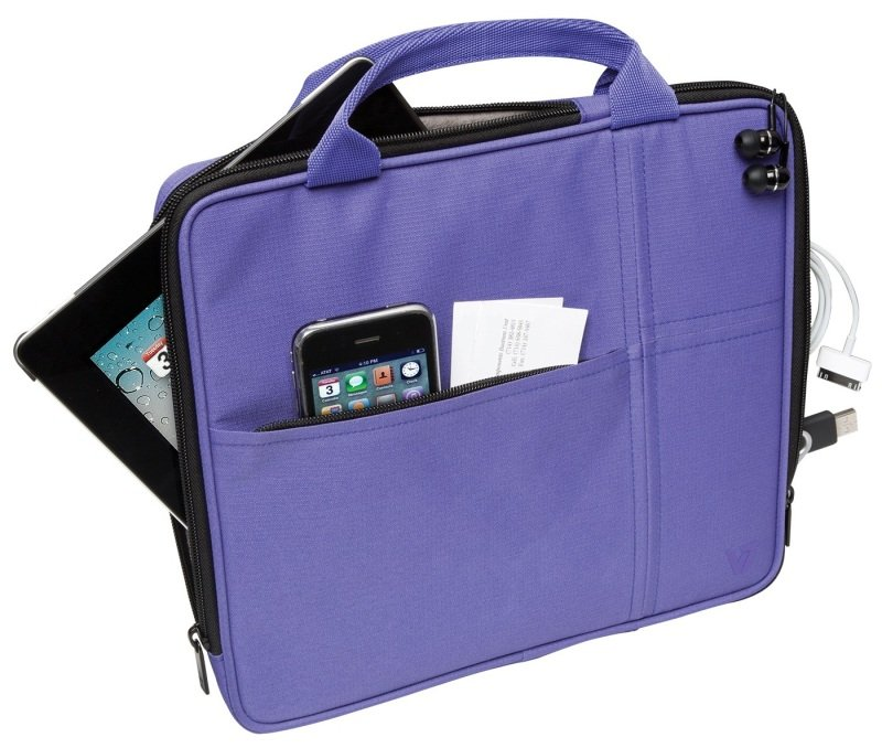 Image of V7 Bag with Multi-Pockets and Handle for iPad, iPad 2, iPad 3, iPad 4, Kindle Fire and Tablet PCs up to 9.7 inch, Purple