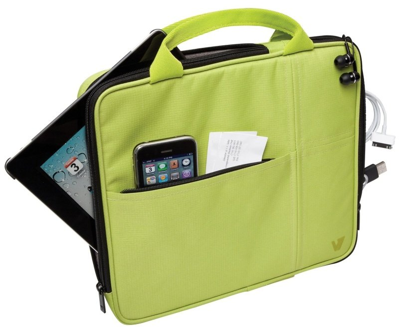 Image of V7 Bag with Multi-Pockets and Handle for iPad, iPad 2, iPad 3, iPad 4, Kindle Fire and Tablet PCs up to 9.7 inch, Green
