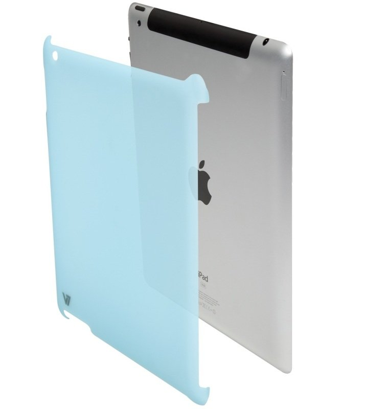 Image of V7 Slim-Fit Snap-on Back Cover Case for the iPad 2, Apple Smart Cover Compatible, Blue