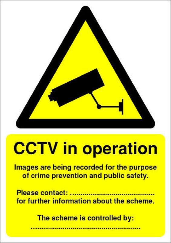 Extra Value A5 PVC DPA Compliant Warning Sign - CCTV