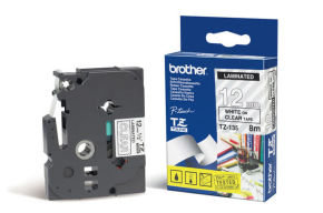 Brother TZe 135 Laminated adhesive tape- White on Clear