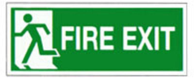 FIRE EXIT LEFT 150X300MM S/A E96A/S