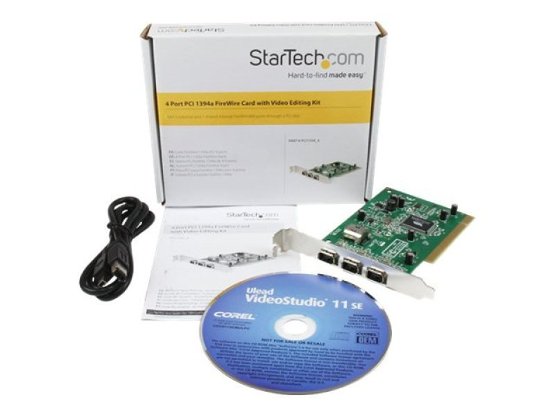 StarTech.com 4 Port PCI 1394a FireWire Adapter Card with Digital Video Editing Kit - PCI FireWire 400 - 1394 Card