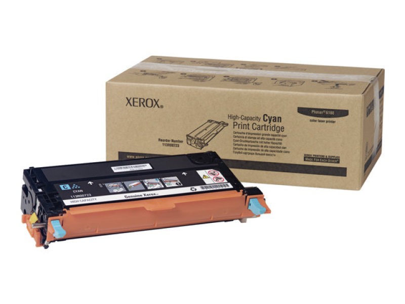Xerox 113R00723 High Capacity Cyan Laser Toner Cartridge 6000 Pages