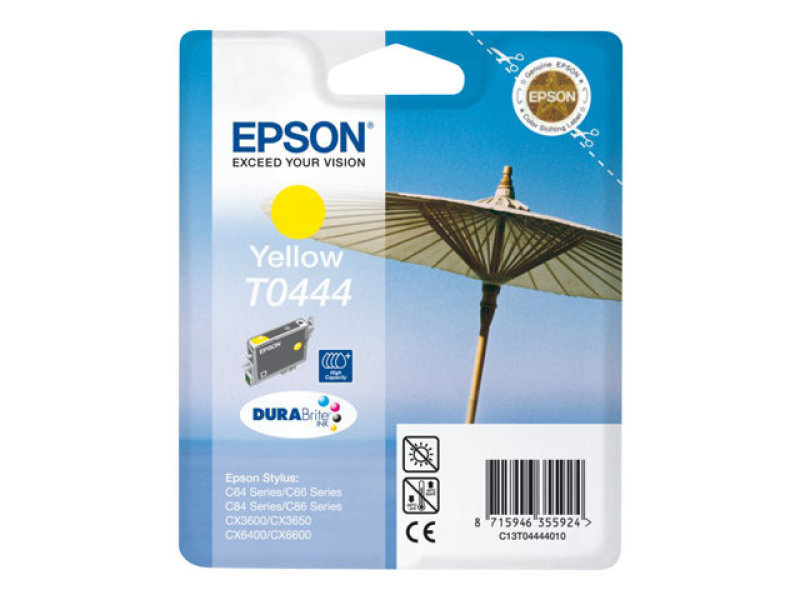 Epson T0444 13ml High Capacity Pigmented Yellow Ink Cartridge 420 Pages