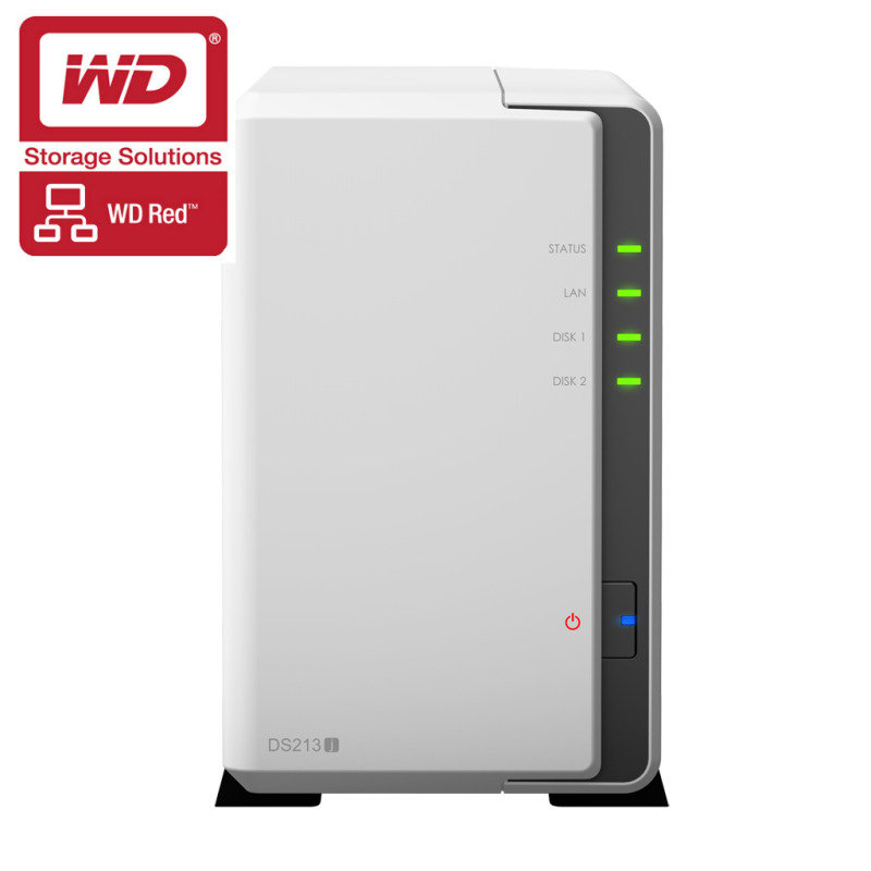 Synology DS213J 2TB (WD Red HDD) 2 Bay Desktop NAS