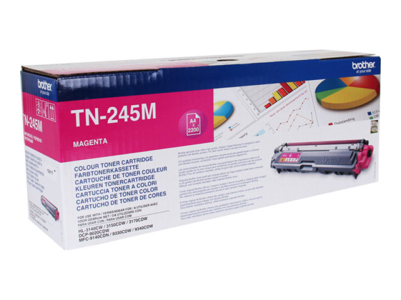 Brother TN-245M Magenta High Yield Toner Cartridge - 2,200 Pages