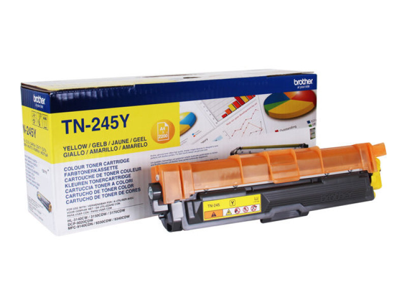 Brother TN-245Y Yellow High Yield Toner Cartridge - 2,200 Pages