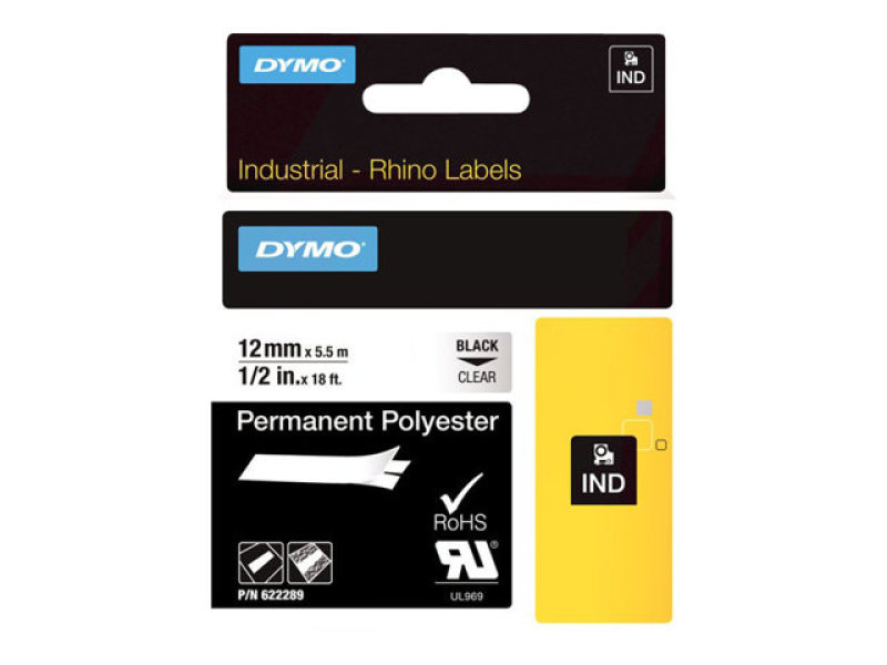 DYMO Permanent Adhesive Polyester Tape - Black on clear