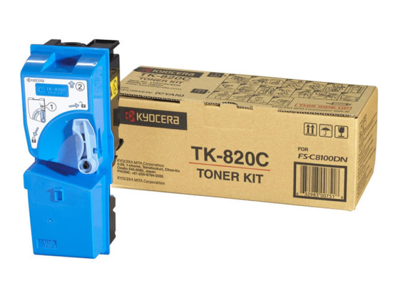 Kyocera TK-820C Cyan Laser Toner Cartridge