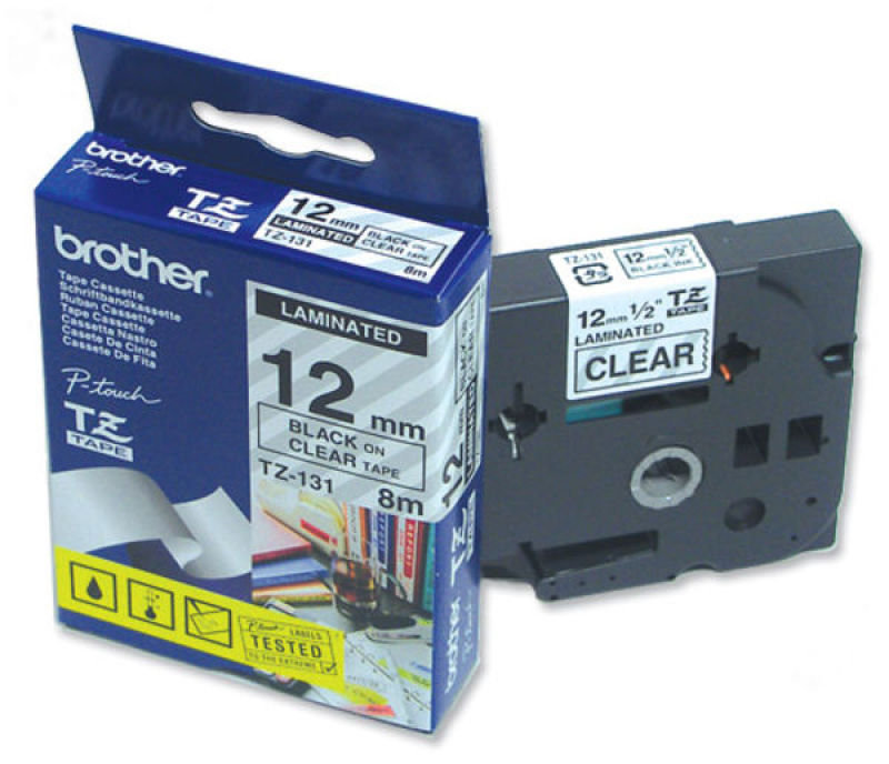 *Brother TZe 131 Laminated tape- Black on clear