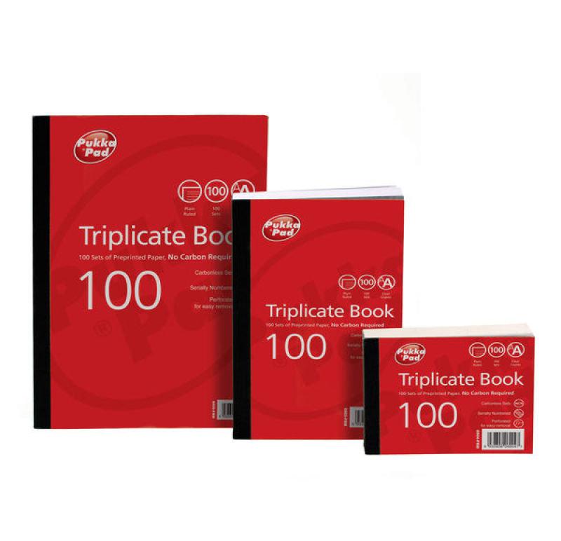 Pukka Pads Plain Ruled Triplicate Book 105x130mm - 5 Pk