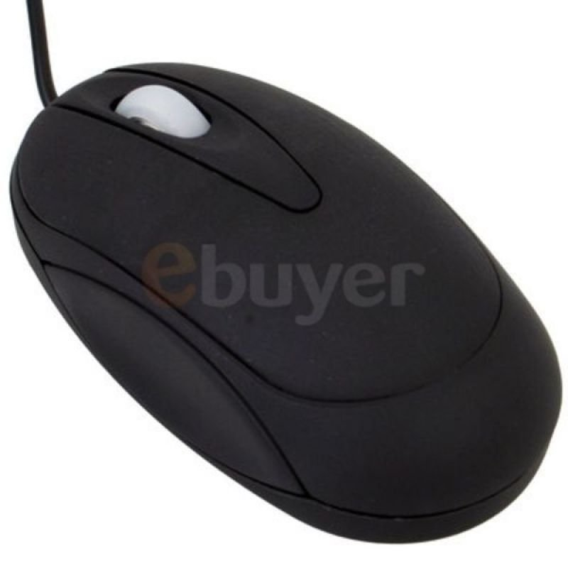Black Rubber Coated Optical Mouse with Scroll Wheel - USB