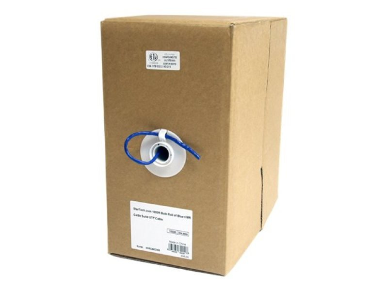 Image of 1000 Ft Bulk Roll Of Blue Cmr Cat5e Solid Utp Cable