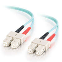 2m 10 Gb Aqua Multimode 50/125 Duplex LSZH Fiber Patch Cable LC - SC