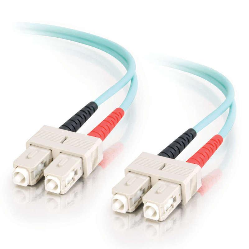2m 10 Gb Aqua Multimode 50/125 Duplex LSZH Fiber Patch Cable LC - SC