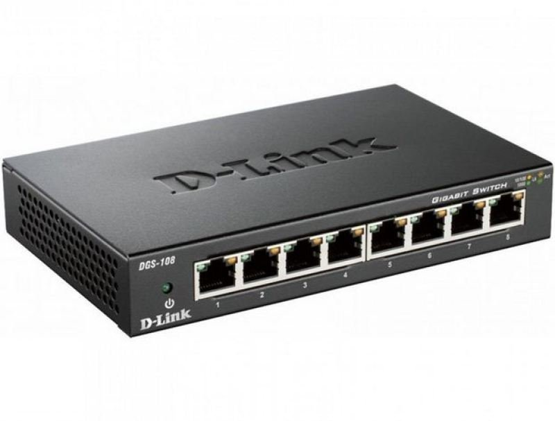 D-Link DGS-108 - 8-port 10/100/1000 Gigabit Metal Housing Desktop Switch