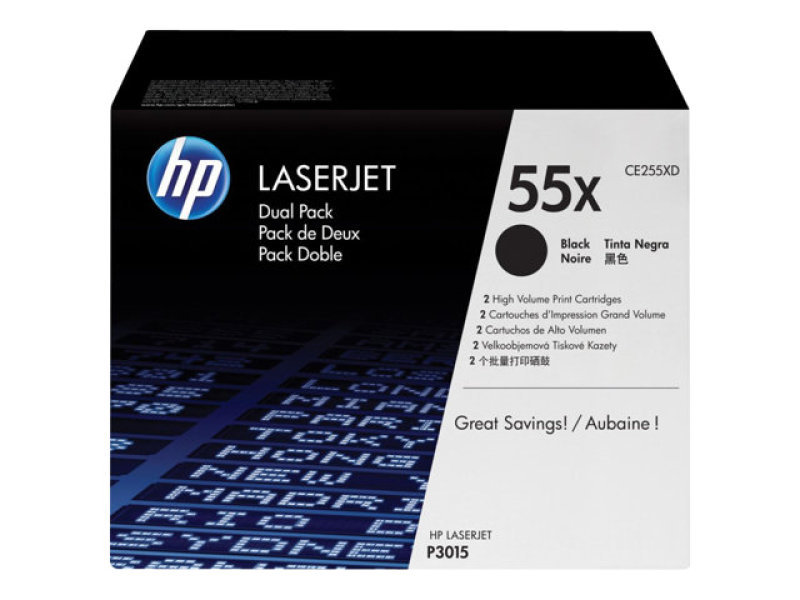 HP 55X Black Dual Pack Toner Cartridges - CE255XD