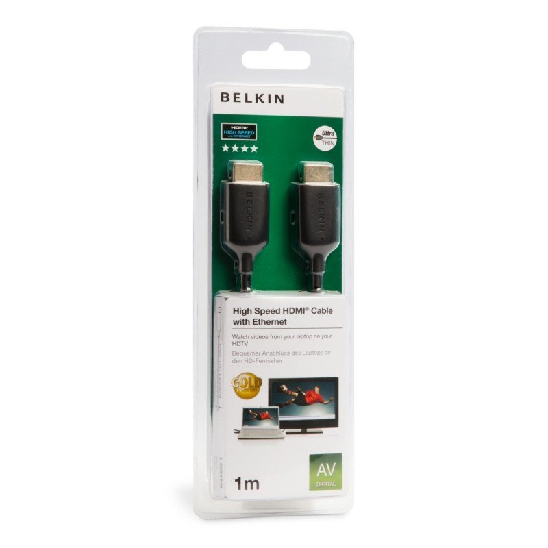 Image of Belkin High Speed HDMI Cable with Ethernet - Ultra Thin - Led TV - 1.5m