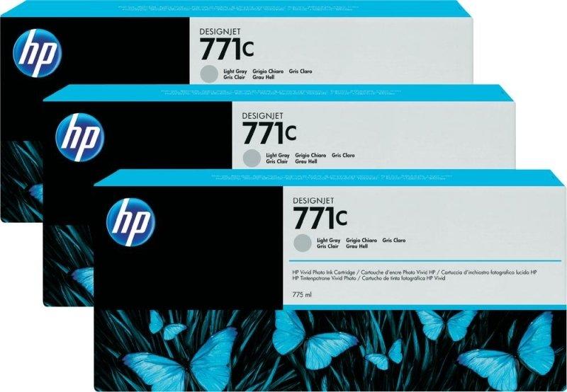 HP 771 Light Gray Original, Multi-packInk Cartridge - Standard Yield 3 x 775ml - B6Y38A