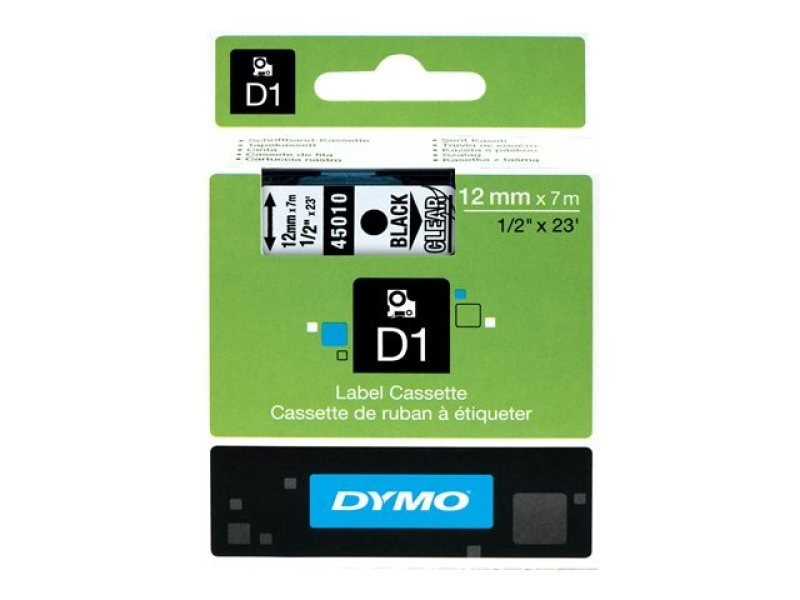 DYMO D1 Self-Adhesive Label Tape - Black on Transparent