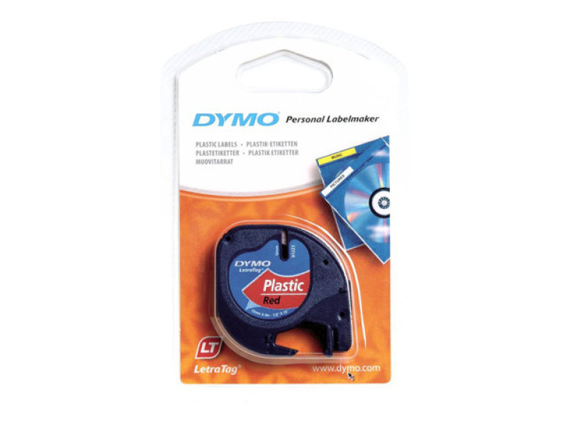 Dymo Cosmic Red LetraTag Plastic Tape 12mmx4m