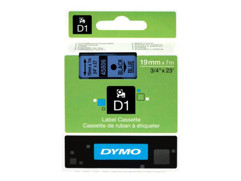 DYMO - D1 - TAPE DYMO 19MMX7M - BLACK/BLUE IN