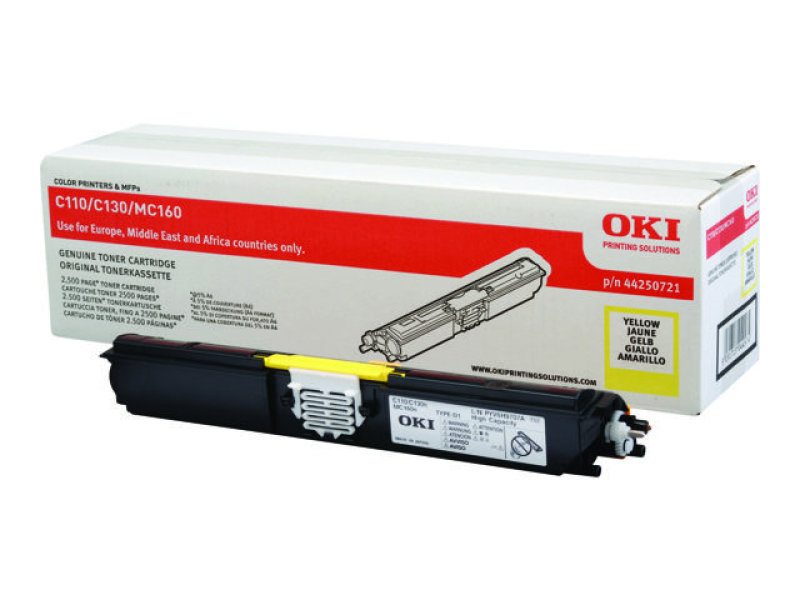 Oki C110/C130 High Capacity 2.5K Yellow Laser Toner Cartridge