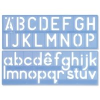 Helix Stencil Set of Letters Numbers and /p Symbols 50mm Upper And Lower Case 4-piece Ref H57010 (H57010)