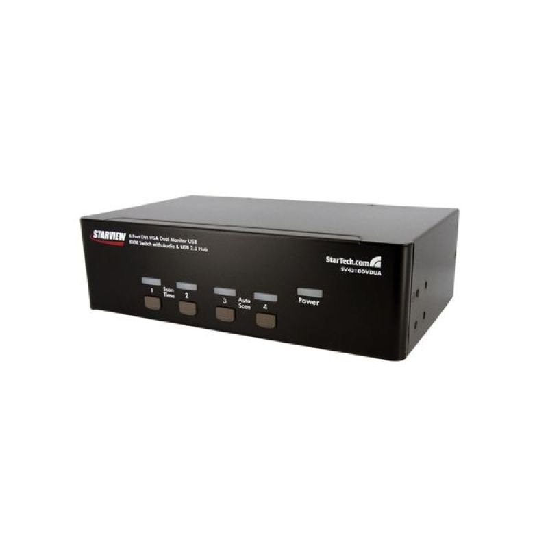 StarTech.com 4 Port KVM Switch DVI and VGA with Audio - KVM Switch Dual Monitor