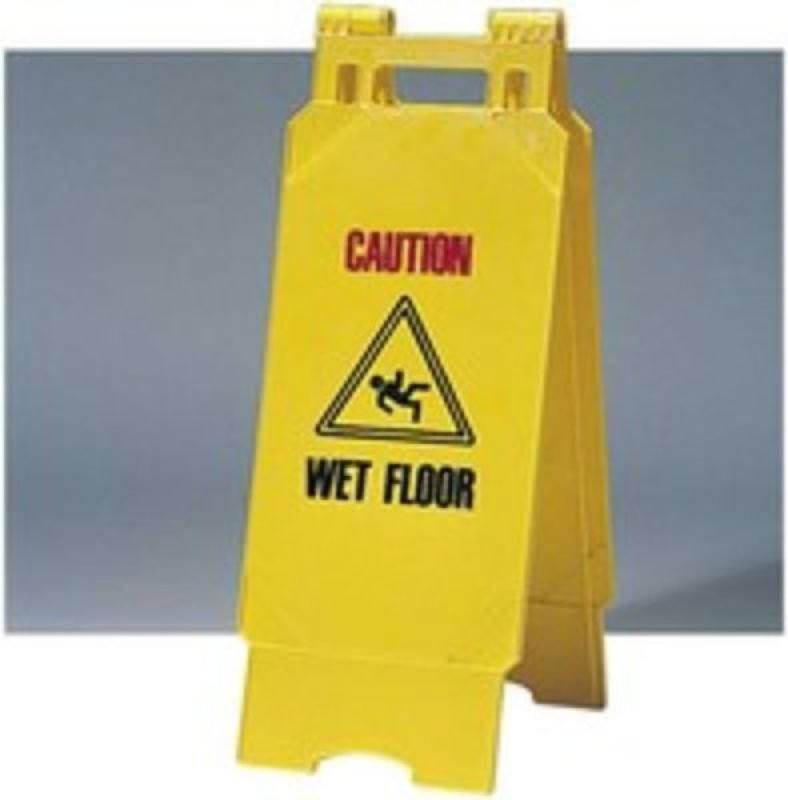 SAFETY SIGN FOLDING YLW WET FLOOR PS124