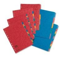 Europa Subject Dividers Pressboard 300 Micron Europunched A-z A4 Assorted Pack 5