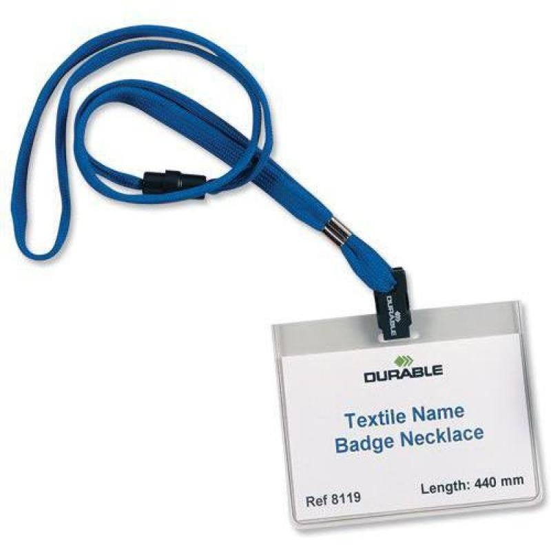 Durable Textile Necklace for Badge 440mm Blue (Pack 10)