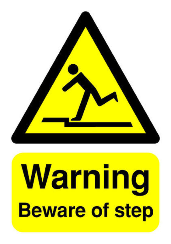 Extra Value A5 Warning Sign - Beware of Step