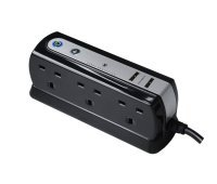 Masterplug SRGDU62PB USB Charging Surge Protected 2m Extension Lead Power Block with 6 Sockets