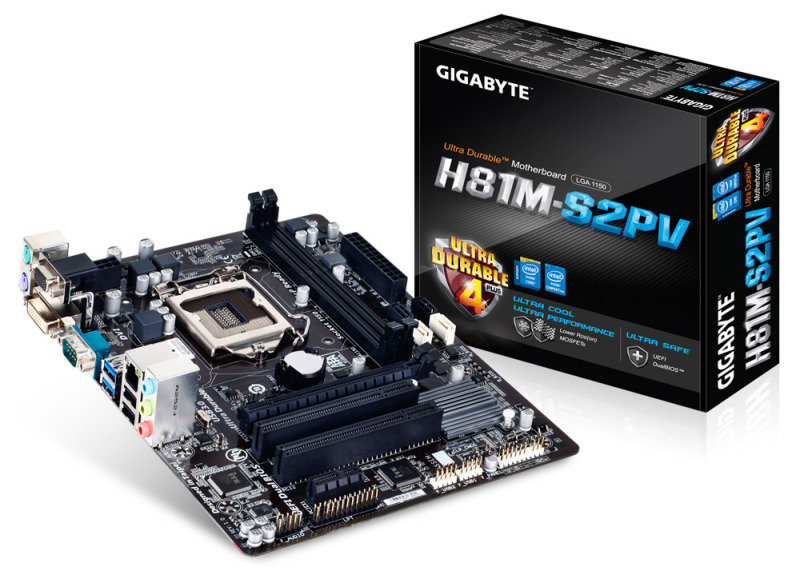 Gigabyte GA-H81M-S2PV Socket 1150 DVI 7.1 Channel Audio Micro ATX Motherboard