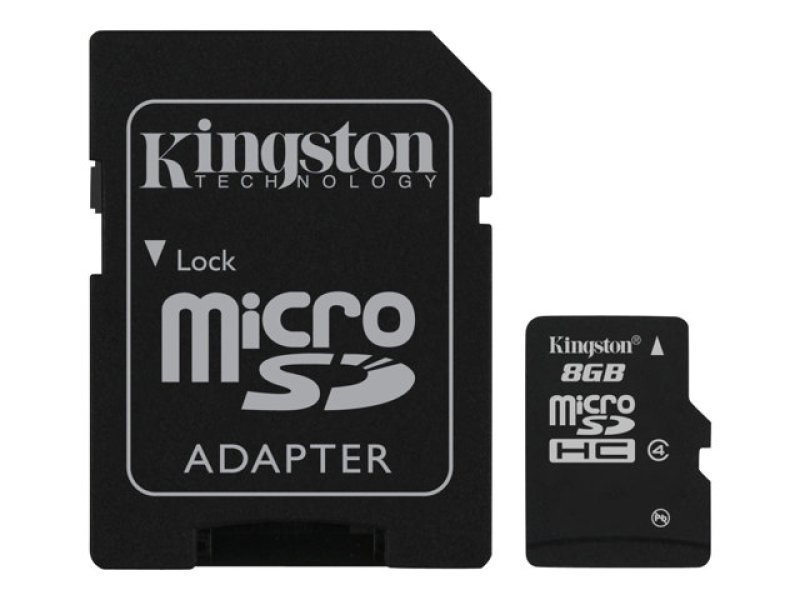 Kingston 8GB Class 4 MicroSDHC Card - With Adapter