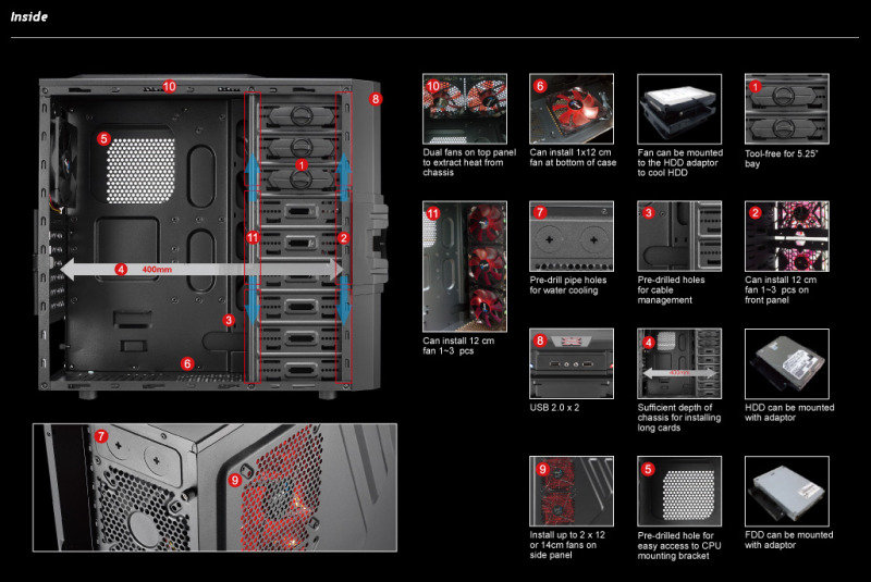 Aerocool Strike-X One Mid-Tower Gaming Case Screwless Black Interior