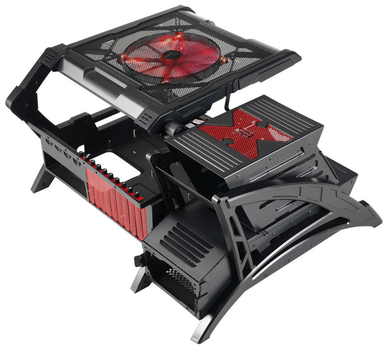 Aerocool Strike-X Air Open Frame PC Case E-ATX 0.7mm USB3 20cm Red LED Fan
