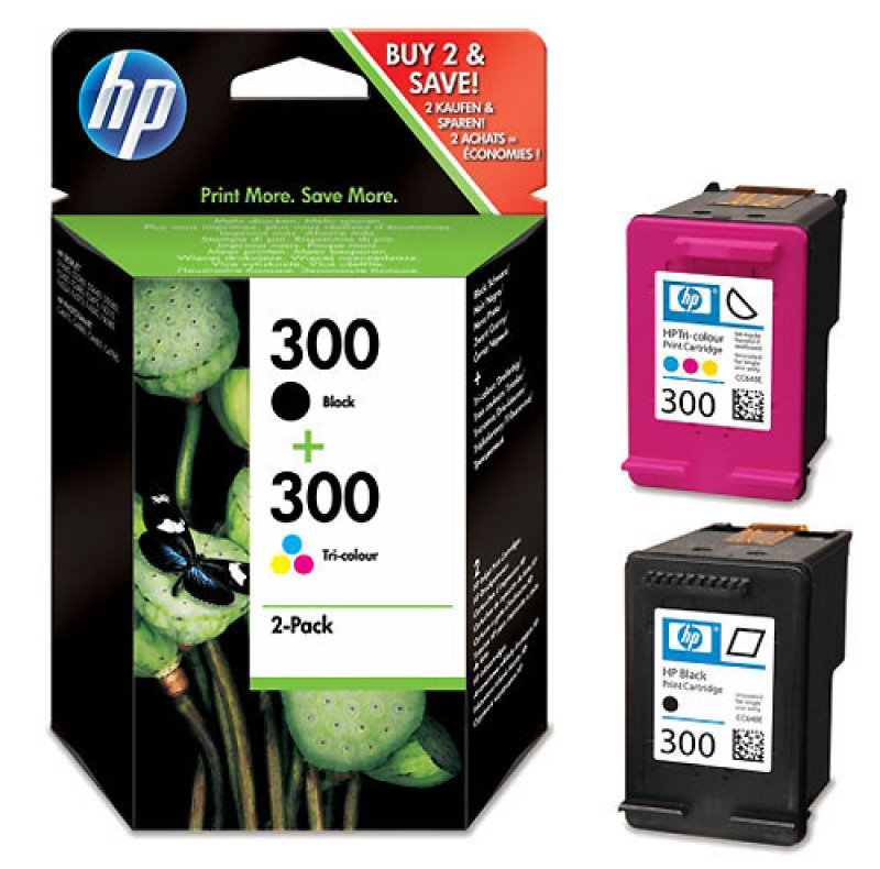 HP 300 Multi-pack 1x Black, 1x Tri-Colour Original Ink Cartridge - Standard Yield 200 Pages/165 Pages - CN637EE