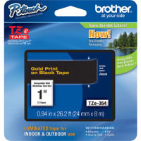 Brother TZe354 Laminated adhesive tape- Gold on Black