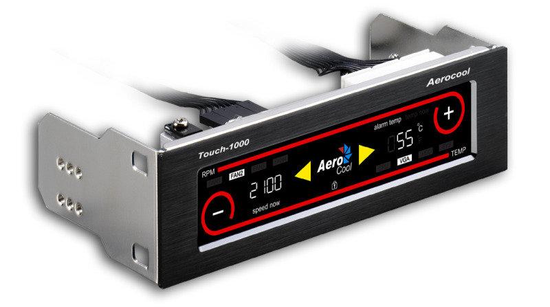 Aerocool Touch 1000 LCD Touch Screen 4 Fan Controller Brushed Aluminium Effect