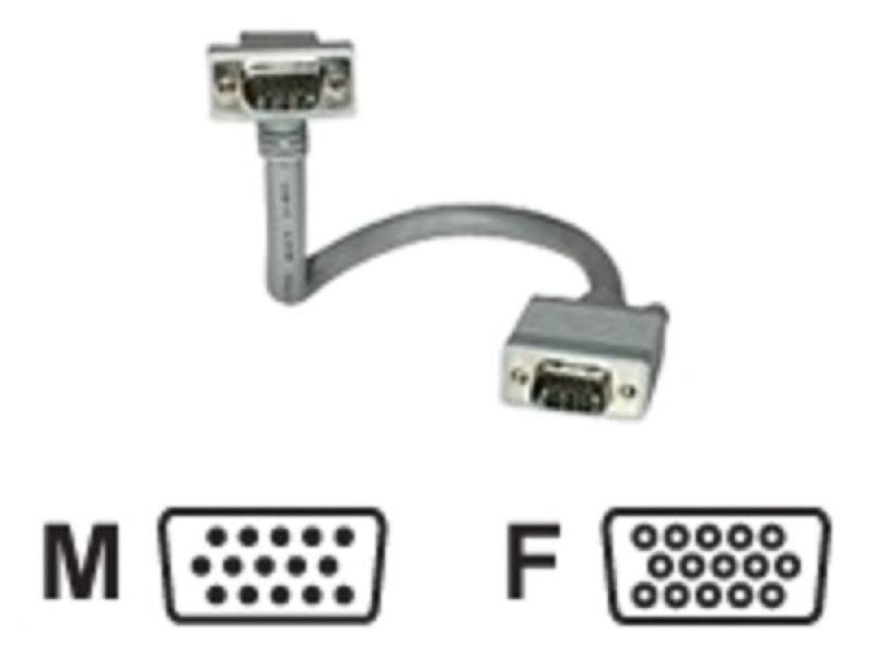 C2G, Premium Shielded HD15 M/F SXGA 90° Down Angled Monitor Extension Cable, .5m