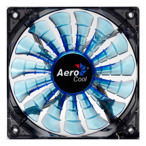 Aerocool Shark 12cm Quad Blue LED Fan 15 Blade Fluid Dynamic Bearing 12.6dBA